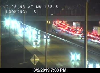 Traffic backed up on I-95.