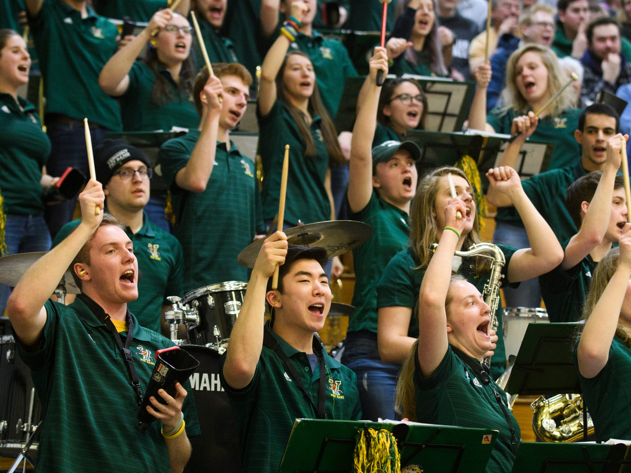 The Vermont pep band cheers for the team during the men's basketball game between the Stony Brook Seawolves and the Vermont Catamounts at Patrick Gym on Saturday night March 2, 2019 in Burlington, Vermont.