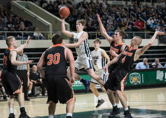 Adena sophomore Logan Bennett attempts to score for Adena against Ironton Saturday night in a Division III district semifinal game.