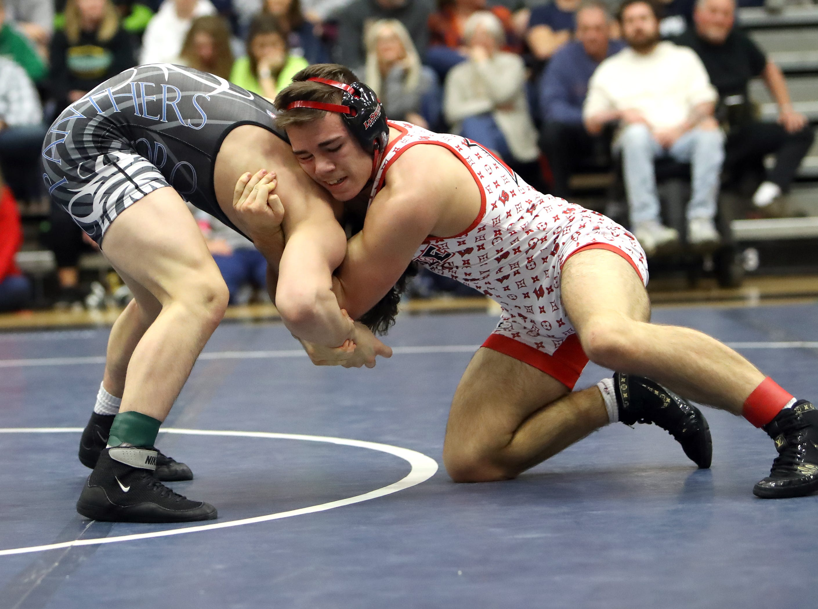Jake Niffeneger from La Salle defeated Mason Kleinberg from Springboro for the 138 lbs. Championship at the OHSAA Division I Southwest district finals at Fairmont High School Trent Arena.