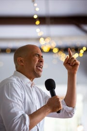 Senator Cory Booker speaks to a crowd at the Dorchester County Democrats' First Annual Oyster Roast Saturday, March 2, 2019 at the Summerville Country Club in Summerville, S.C.