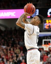 Cincinnati Bearcats guard Cane Broome (15) rises for a shot in the second half of an NCAA college basketball game against the Memphis Tigers, Saturday, March 2, 2019, at Fifth Third Arena in Cincinnati. Cincinnati won 71-69.