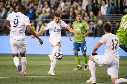 Mar 2, 2019; Seattle, WA, USA; FC Cincinnati midfielder Leonardo Bertone (6) scores a goal during the first half against the Seattle Sounders at CenturyLink Field. Mandatory Credit: Troy Wayrynen-USA TODAY Sports