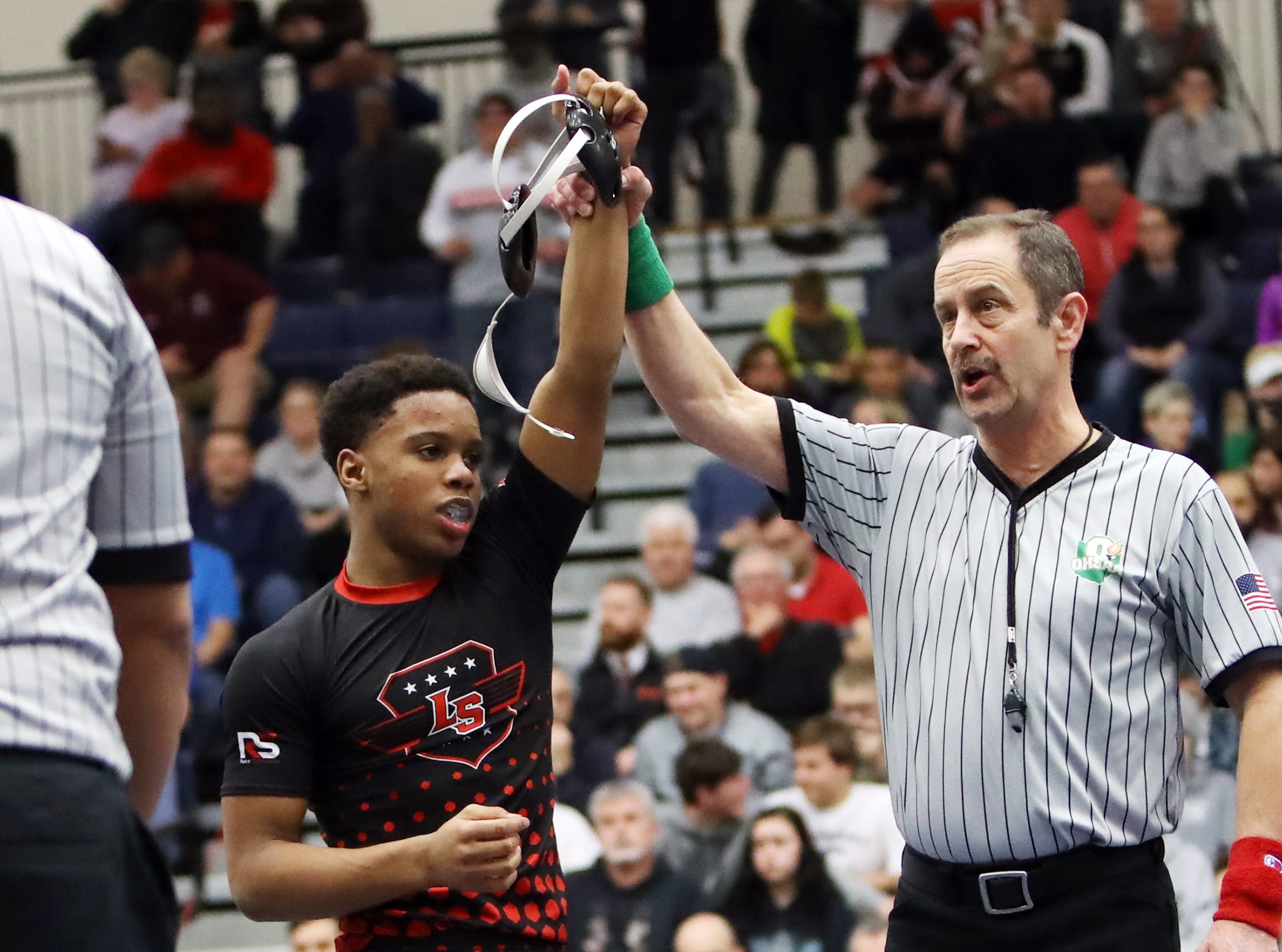 Antoine Allen from La Salle defeated Jabari Thomas from Fairfield to win the 126 lbs. championship at the OHSAA Division I Southwest district finals at Fairmont High School Trent Arena.