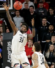 Cincinnati Bearcats center Nysier Brooks (33) will tangle again with 7-6 Tacko Fall Thursday