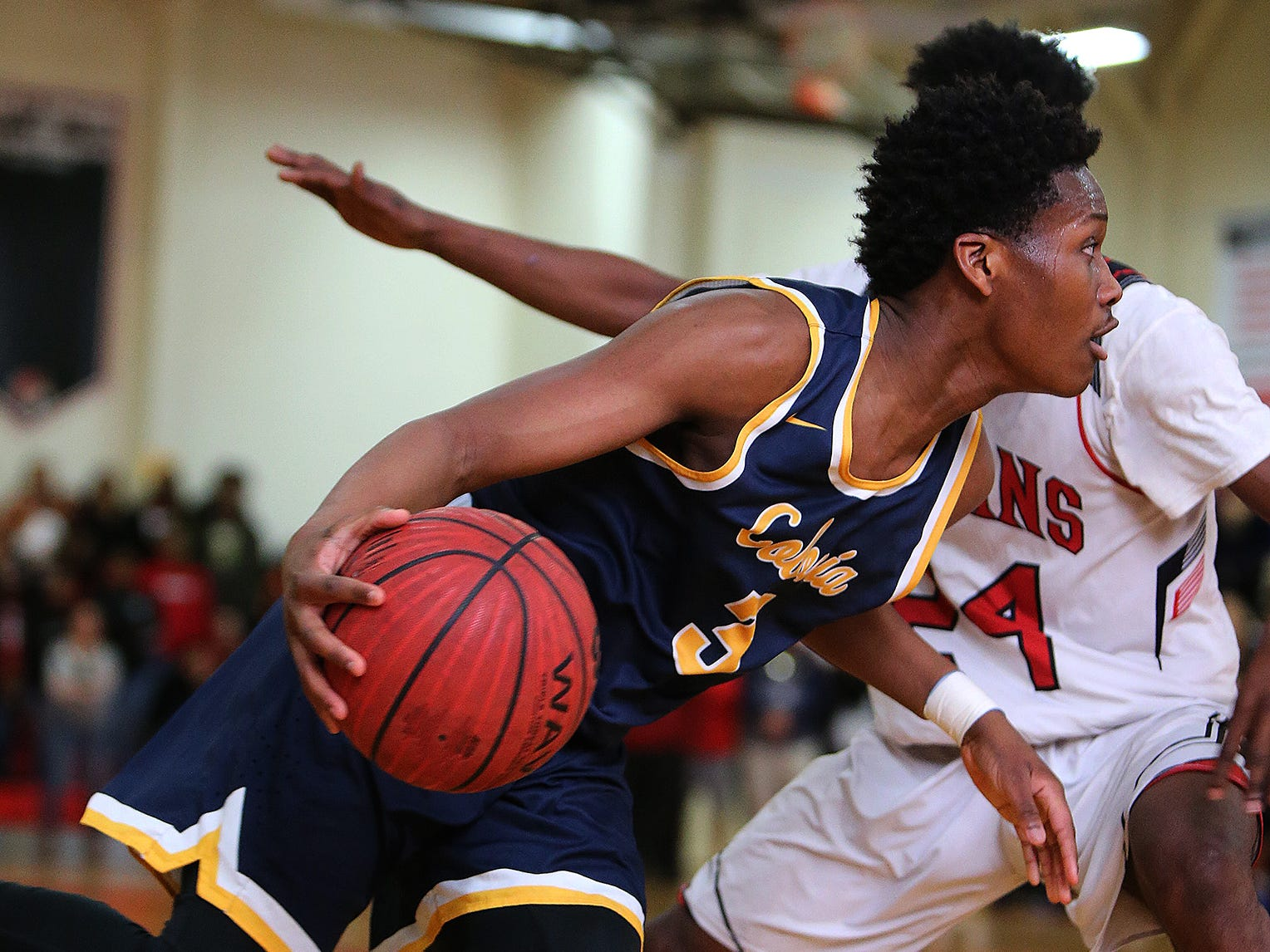 Colonia's Ola Aridegbe (3) moves the ball against Rahway during a North 2 Group III semifinal on Saturday March 2, 2019 at Rahway High School.