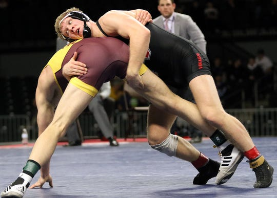 At 197 lbs, Grand View's Evan Hansen defeats Isaac Bartel of Montana State Northern for his third national championship. NAIA Wrestling National Championships in Des Moines.