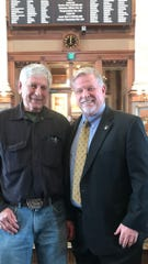 Richard Bishop, former Wildlife Bureau chief at the Department of Natural Resources, visited state Rep. Scott Ourth to talk about wildlife management.