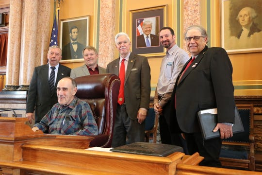Gary Denniston of Indianola, Ray Dittmer of Lacona, Jeff Ridgway of Van Meter, Justin Sullivan of Winterset and Robert Witt of Macksburg, from the Iowa Farm Bureau, met with state Rep. Stan Gustafson.