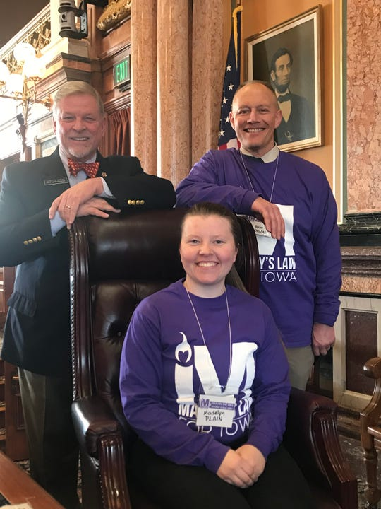 Madelyn Plain and Brian Endrizal from Indianola visited the Capitol to talk with state Rep. Scott Ourth about Marsy's Law. a bill to protect crime victims. For information on this ia.marsyslaw.us