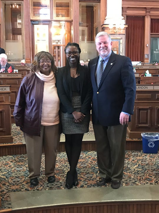 State Rep. Ruth Ann Gaines and state Rep. Scott Ourth celebrated Black History Month with Anita Aidoo in the Capitol Rotunda.