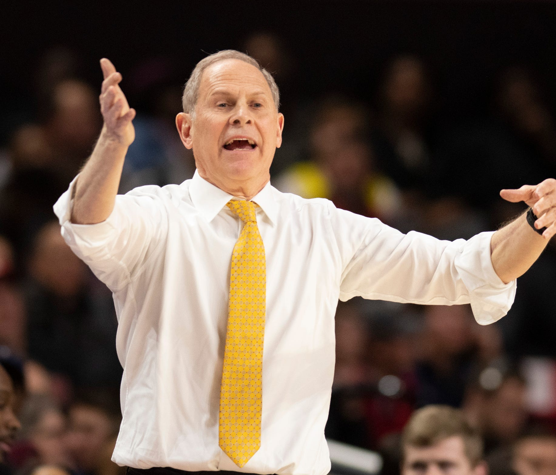 Michigan coach John Beilein reacts to a call during the first half on Sunday, March 3, 2019, in College Park, Md.