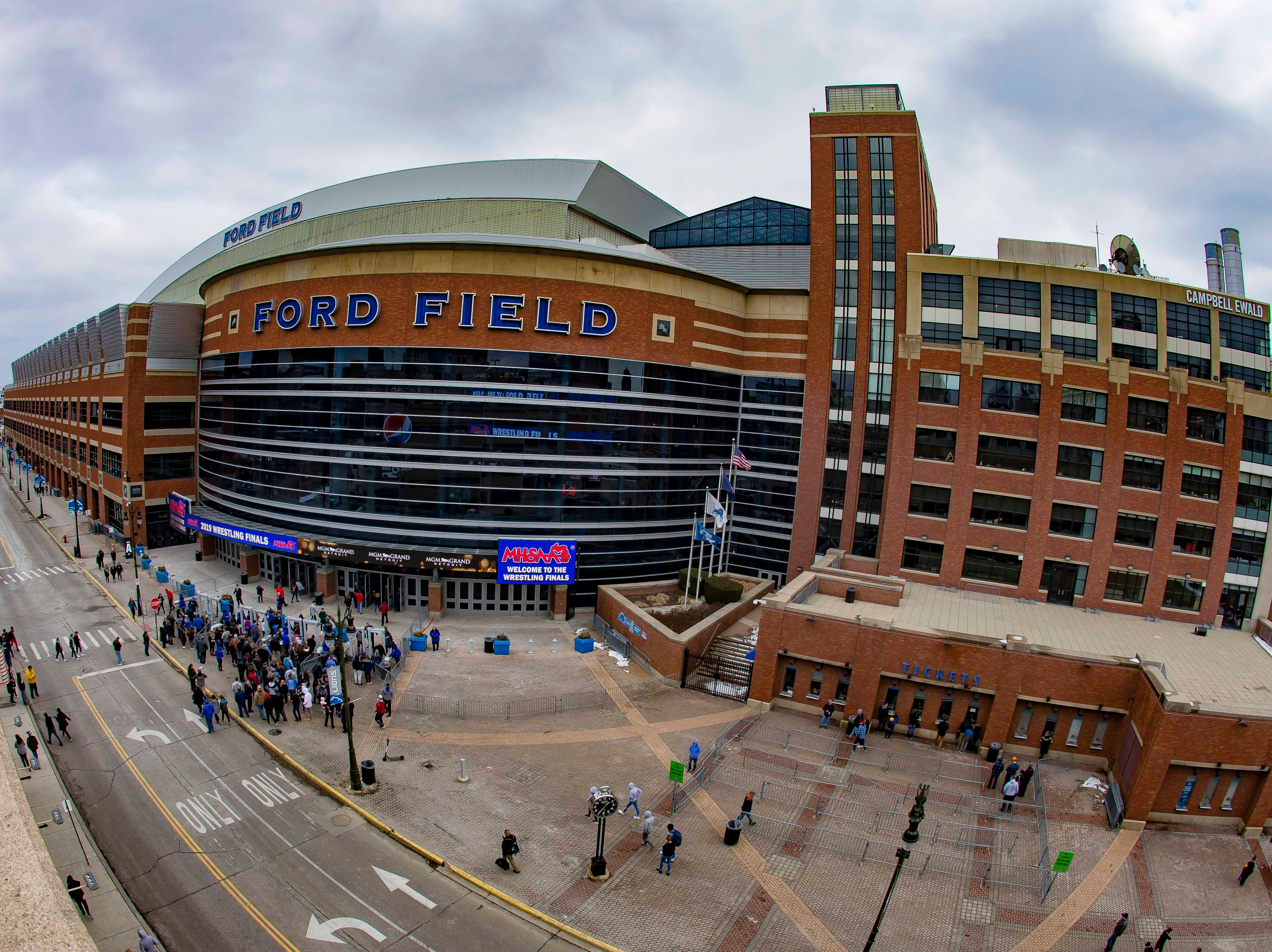 A wide view of the front entrance of Ford Field during the MHSAA Individual Wrestling Finals-Day 2 on Saturday, March 2, 2019 in Detroit, Michigan.