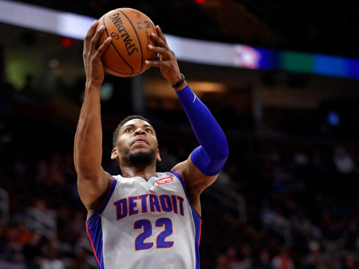 Detroit Pistons' Glenn Robinson III drives to the basket against the Cleveland Cavaliers in the first half.