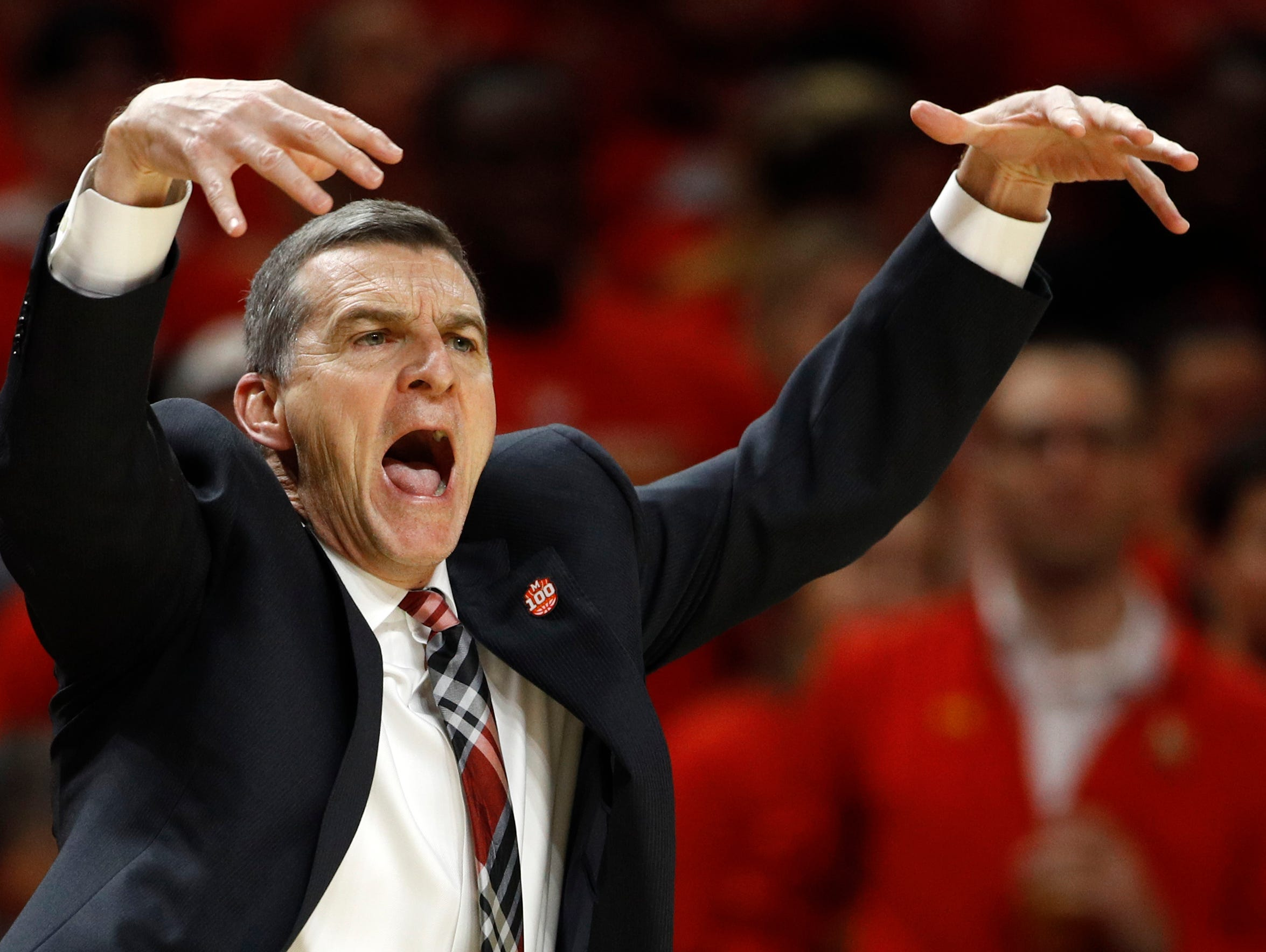 Maryland head coach Mark Turgeon gestures in the first half.