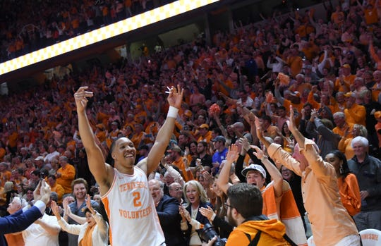 Tennessee forward Grant Williams (2) celebrates after defeating Kentucky 71-52 in an NCAA college basketball game in Knoxville, Tenn., Saturday, March 2, 2019. (Joy Kimbrough/The Daily Times via AP)