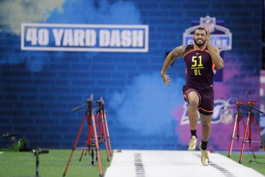 Mississippi State defensive lineman Montez Sweat runs the 40-yard dash during the NFL scouting combine on Sunday.