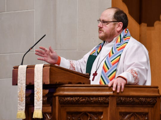 Wearing a rainbow-colored sash in support of the LGBT community, the Rev. Elbert Dulworth Dulworth gave a statement emphasizing inclusion and  loving everyone Mar. 3, 2019, at Birmingham First United Methodist Church.