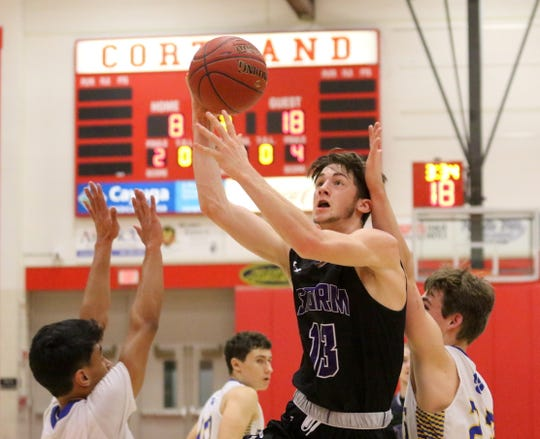 Levi Rifanburg of Unadilla Valley puts up a shot against Lansing during the Section 4 Class C boys basketball final March 2, 2019 at SUNY Cortland.