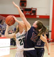 Meghan Perry of Unatego is guarded by Watkins Glen's Kelsey Kernan during the Section 4 Class C girls basketball final March 2, 2019 at SUNY Cortland