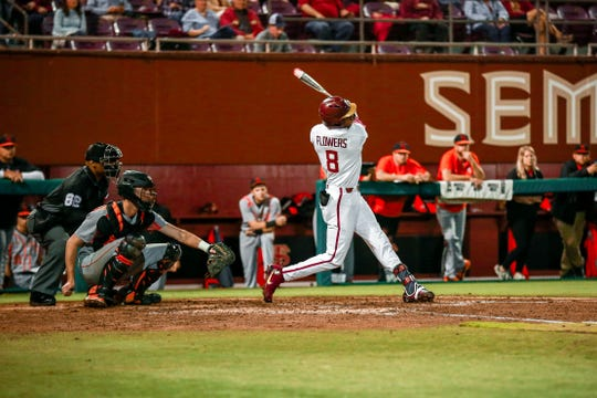 Florida State FSU junior outfielder J.C. Flowers is batting .364 with one homerun and nine RBI's thus far this season.