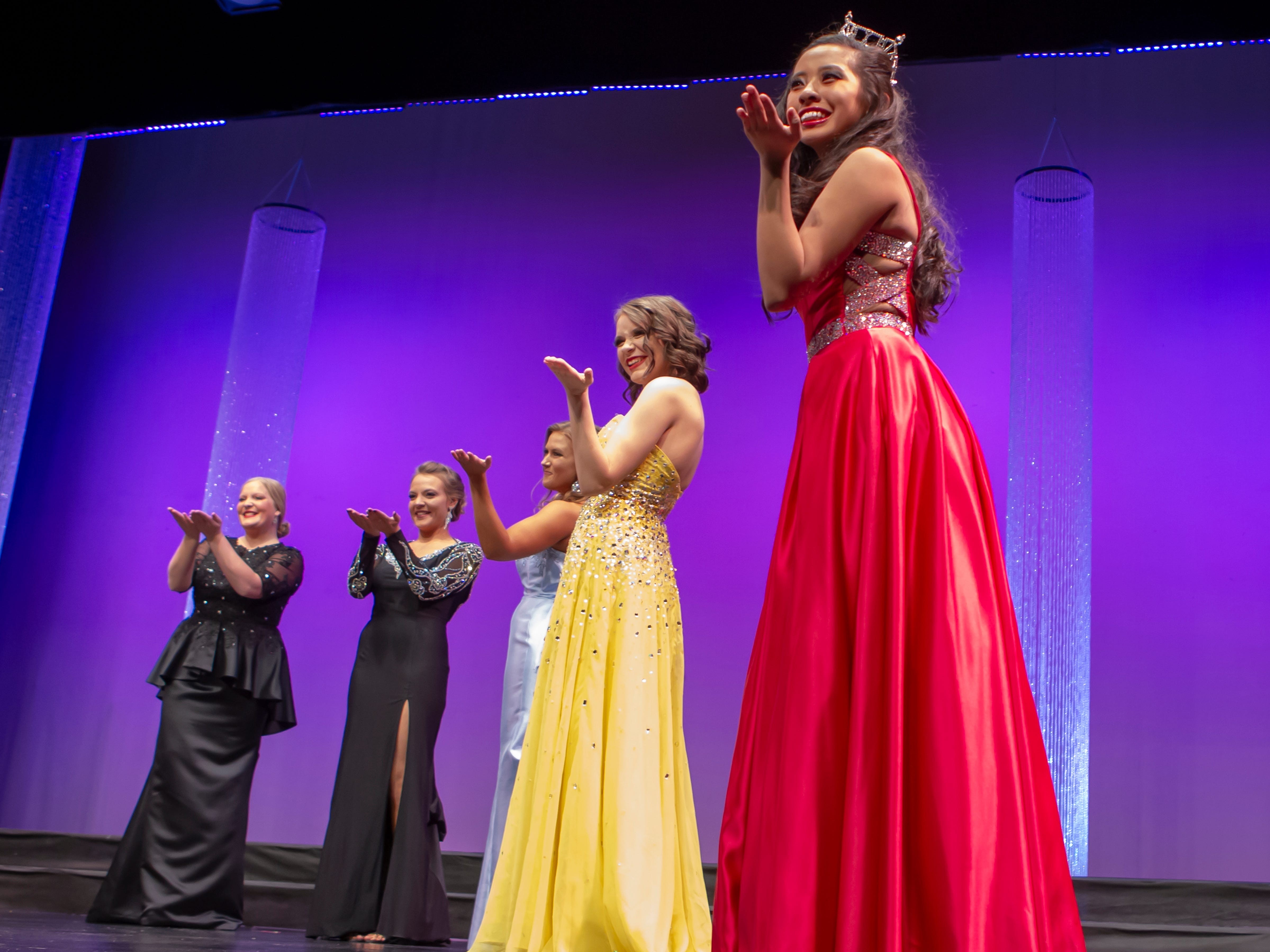 Participants compete in the Miss Oshkosh Scholarship Pageant and Miss Oshkosh's Outstanding Teen pageant Saturday, March 2, 2019, at Alberta Kimball Auditorium in Oshkosh, Wis.