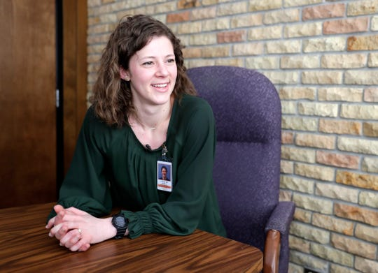 Dr. Joanna Buck, one of 15 students who graduated in June from Medical College of Wisconsin-Green Bay, talks about the first year of her residency on Feb. 21 at Winnebago Mental Health Institute in Oshkosh.