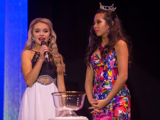 Samantha Tuchscherer answers a question in the Outstanding Teen portion of the Miss Oshkosh Scholarship Pageant Saturday, March 2, 2019, at Alberta Kimball Auditorium in Oshkosh, Wis.