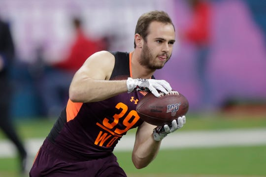 Clemson wide receiver Hunter Renfrow runs a drill at the NFL football scouting combine in Indianapolis, Saturday, March 2, 2019. (AP Photo/Michael Conroy)