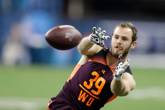 Clemson wide receiver Hunter Renfrow runs a drill during the NFL football scouting combine, Saturday, March 2, 2019, in Indianapolis. (AP Photo/Darron Cummings)