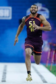 Montez Sweat (DL51) runs the 40 yard dash.