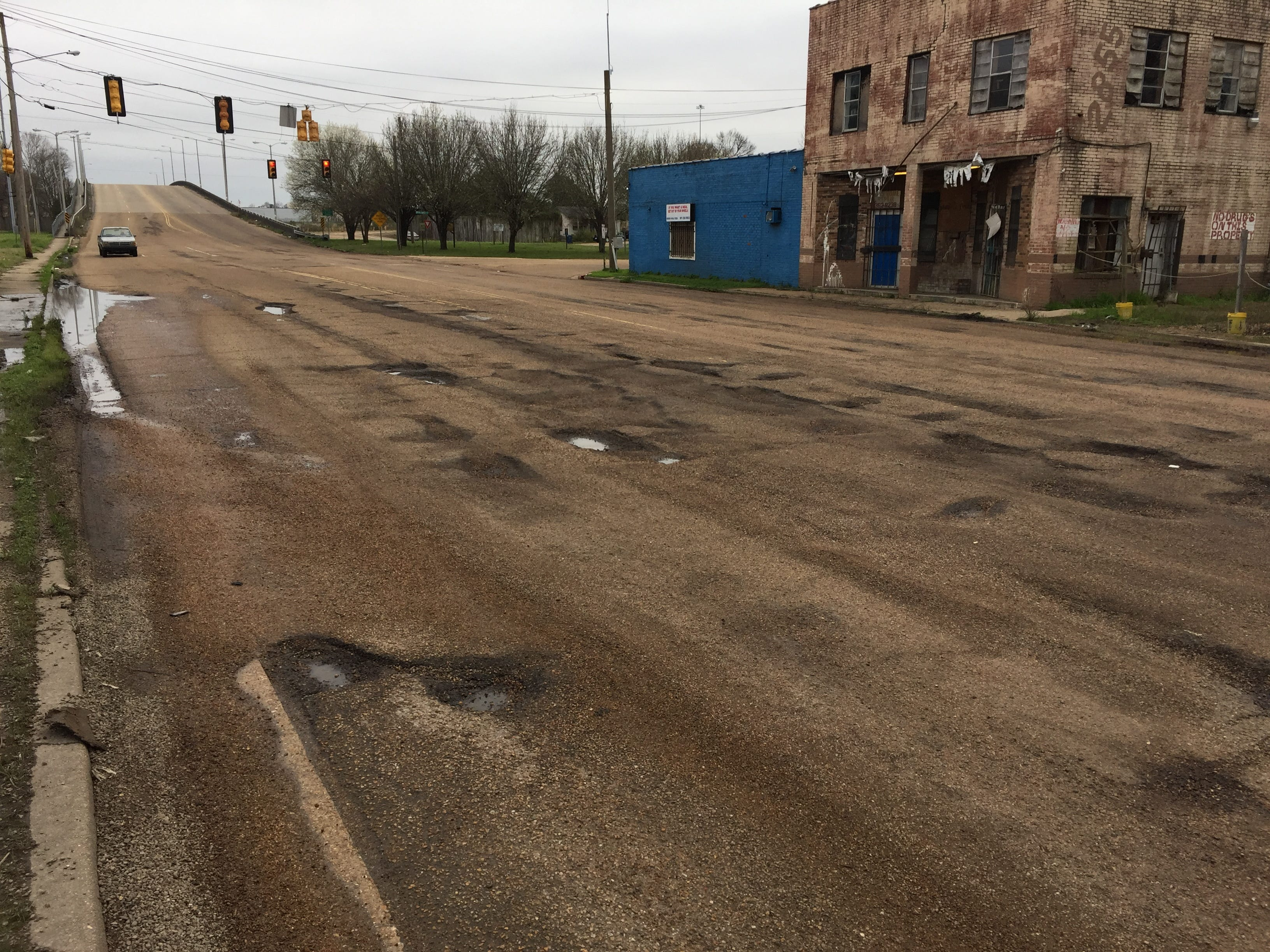 Drivers, both north and southbound, must get creative to get through this section of  Bailey Avenue in Jackson, Saturday, March 2, 2019.