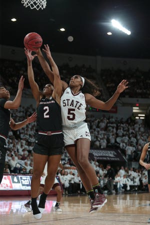 Mississippi State senior forward Anriel Howard picked up her ninth double-double of the season in the Bulldogs' win over South Carolina on March 3. MSU clinched regular season SEC Championship outright with the win. Photo by Keith Warren