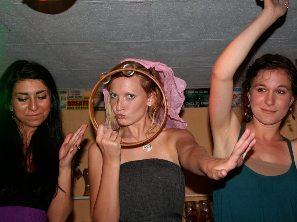 Stephanie Gilman, center, had her bachelorette party at King Tut Grill in 2011.