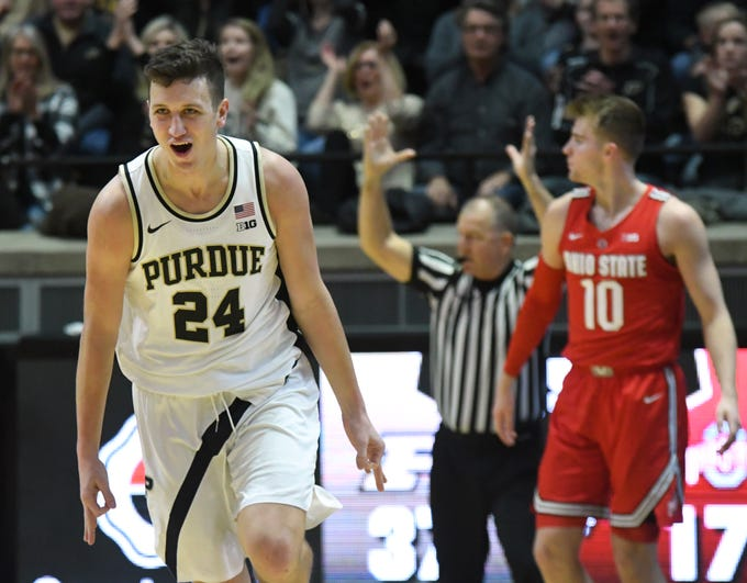 By Frank Oliver for the Journal and Courier --Purdue's Grady Eifert reacts after draining a three-point shot in the first half against Ohio State on March 2, 2019 in West Lafayette.