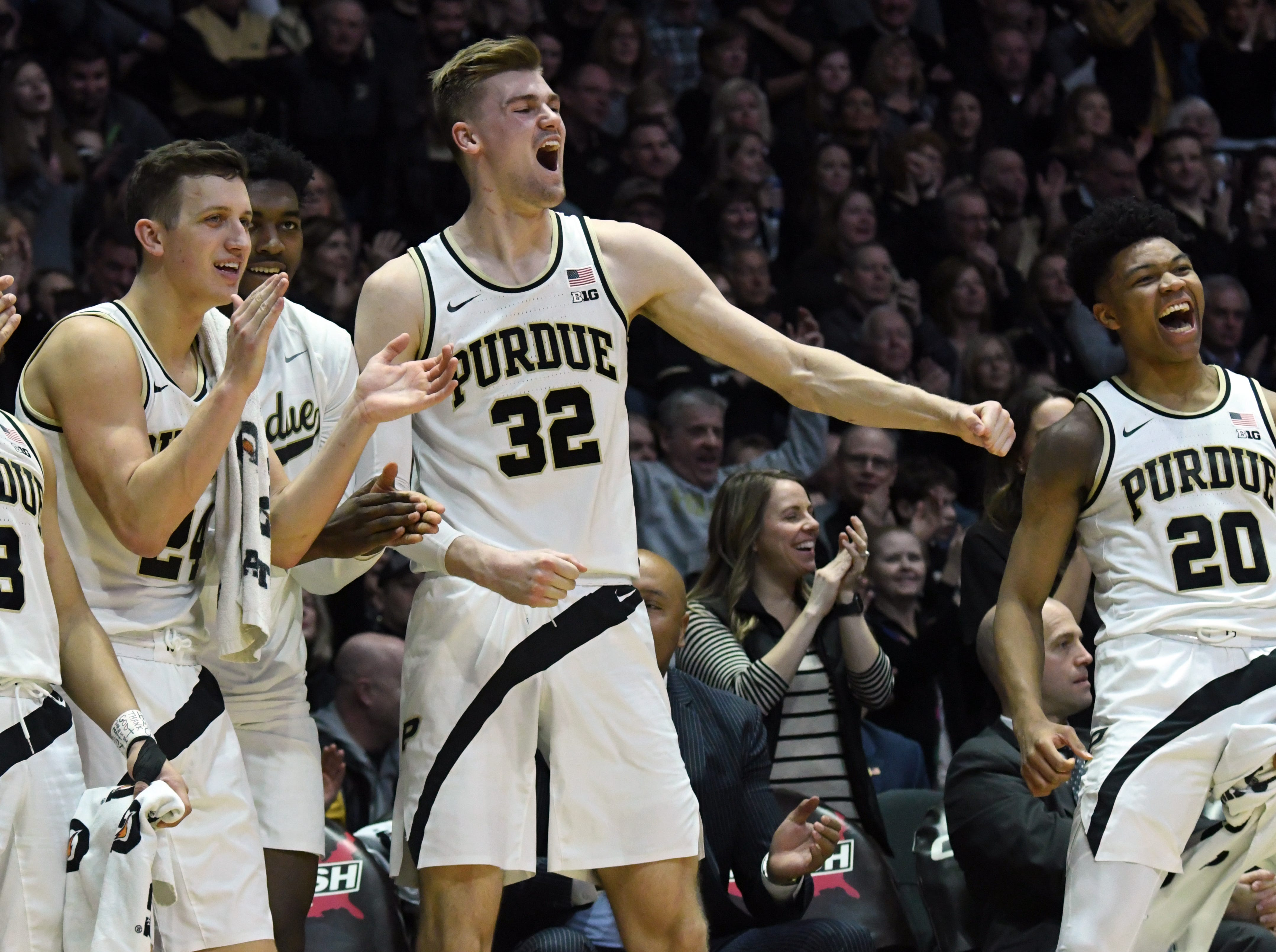 By Frank Oliver for the Journal and Courier --Purdue's Carsen Edwards, Grady Eifert, Trevion Williams, Matt Haarms and Nojel Eastern, from left, react to a three-point shot in the second half against Ohio State on March 2, 2019 in West Lafayette. Purdue defeated the Buckeyes 86-51.