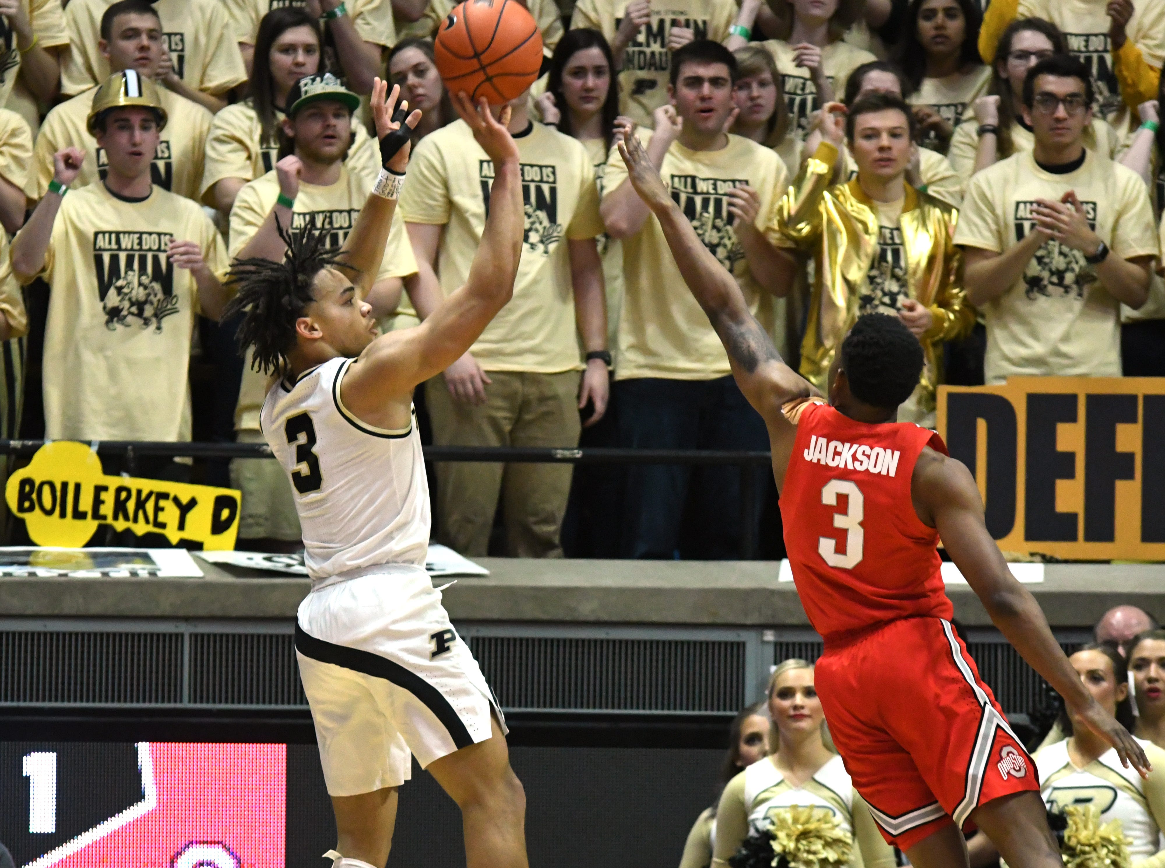 By Frank Oliver for the Journal and Courier --Purdue's Carsen Edwards hits a shot in the first half against Ohio State on March 2, 2019 in West Lafayette.