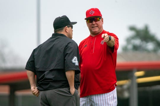 UL's head baseball coach Tony Robichaux talks to an official as the Ragin' Cajuns take on the University of Maryland Terrapins in a double-header at M.L. Tigue Moore Field on March 2, 2019.
