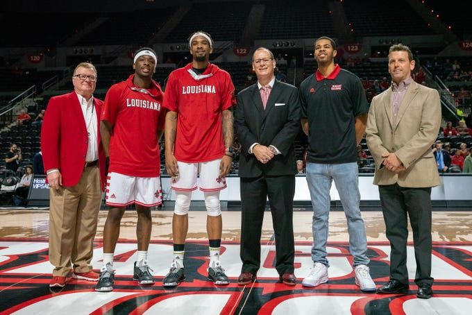 UL's seniors are commended for their commitment to the team during the pregame senior night celebration as the Ragin' Cajuns take on the Appalachian State Mountaineers at the Cajundome on March 3, 2019.