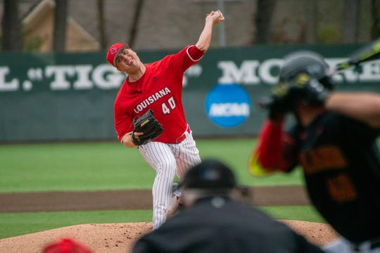 UL's Dalton Horton throws during the Ragin' Cajuns' 14-innings win over Maryland last Saturday.