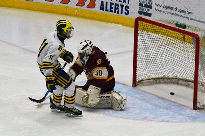 Hartland's Gabe Anderson scores one of his three goals in an 8-0 victory over Davison on Saturday, March 2, 2019.