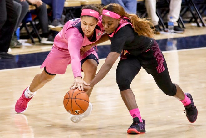 Pittsburgh's Jasmine Whitney, left, and Louisville's Dana Evans chase after the ball during the second half of an NCAA college basketball game, Sunday, March 3, 2019, in Pittsburgh.