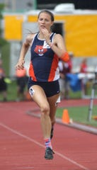 Galion junior Kerrigan Myers, shown here competing in last year's state outdoor track meet, won a state indoor high jump title Saturday and nearly claimed a second crown, finishing runner-up in the 60 meter hurdles.