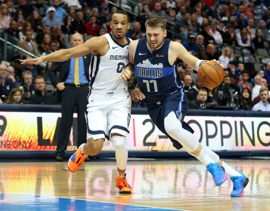Memphis Grizzlies guard Avery Bradley (0) defends as Dallas Mavericks forward Luka Doncic (77) tries to drive with the ball in an NBA basketball game Saturday, March 2, 2019, in Dallas. (AP Photo/Richard W. Rodriguez)