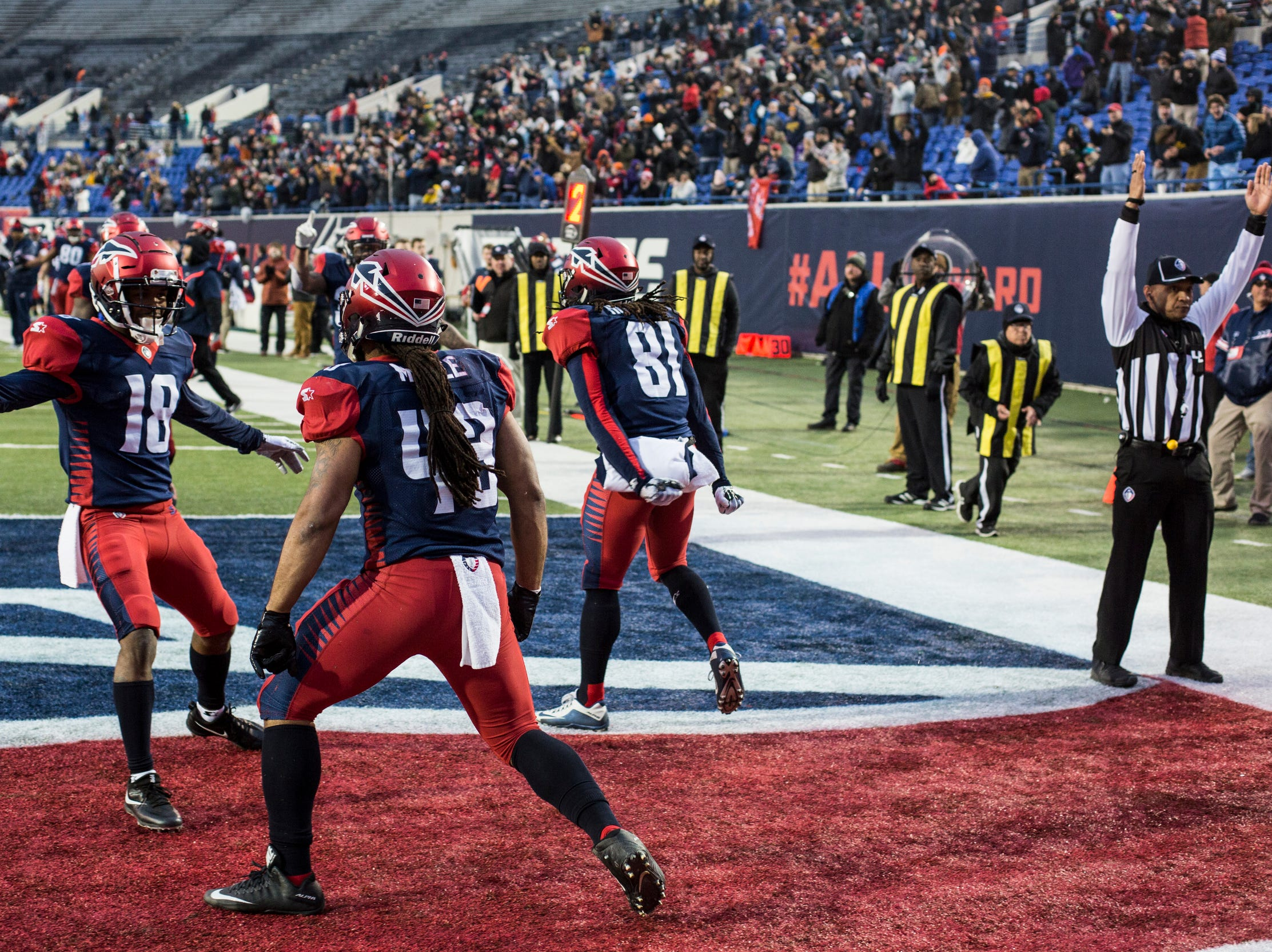 March 02, 2019 - The Memphis Express celebrate after a touchdown by Terrence Magee during Saturday's game against the San Diego Fleet.