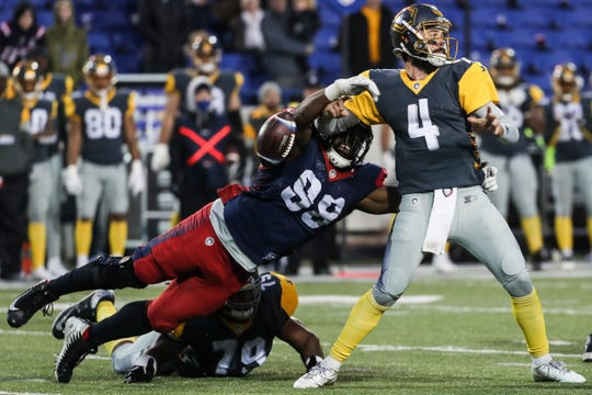 March 02, 2019 - Memphis Express'  Corey Vereen forces a fumble by San Diego's quarterback Alex Ross during Saturday's game against the San Diego Fleet.