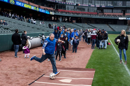 March 02, 2019 - Fans were able to take a penalty kick shot during the Memphis 901 FC fan fest at AutoZone Park on Saturday.
