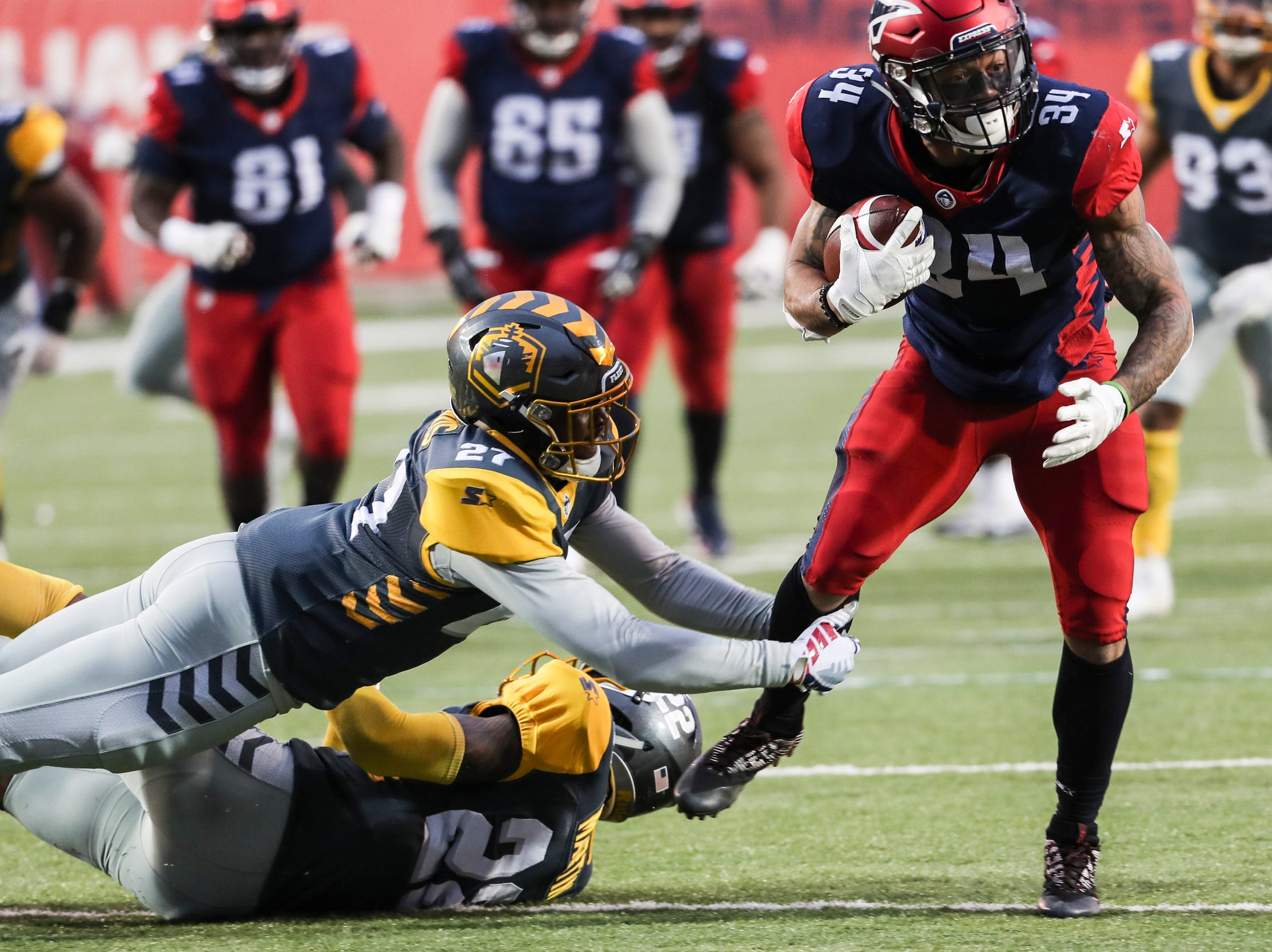 March 02, 2019 - Memphis Express' Sherman Badie runs with the ball during Saturday's game against the San Diego Fleet.