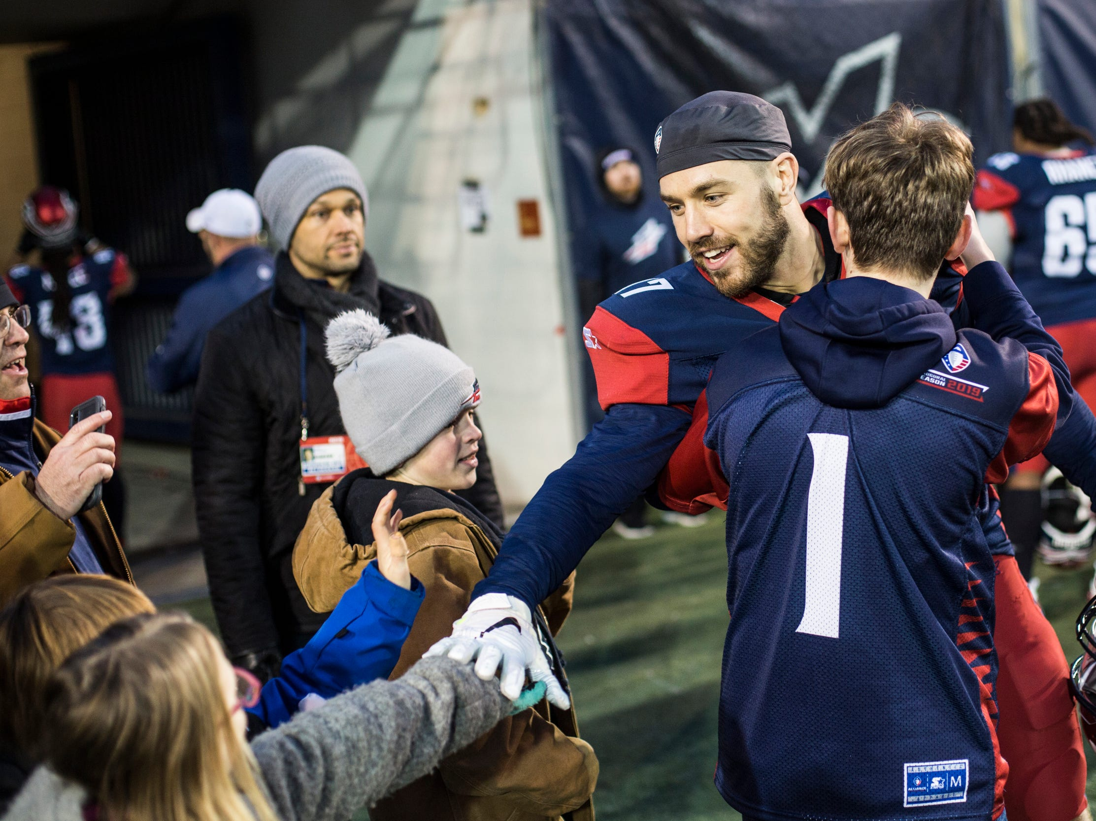 March 02, 2019 - Memphis Express' Reece Horn interacts with fans after the Memphis Express won Saturday's game against the San Diego Fleet.