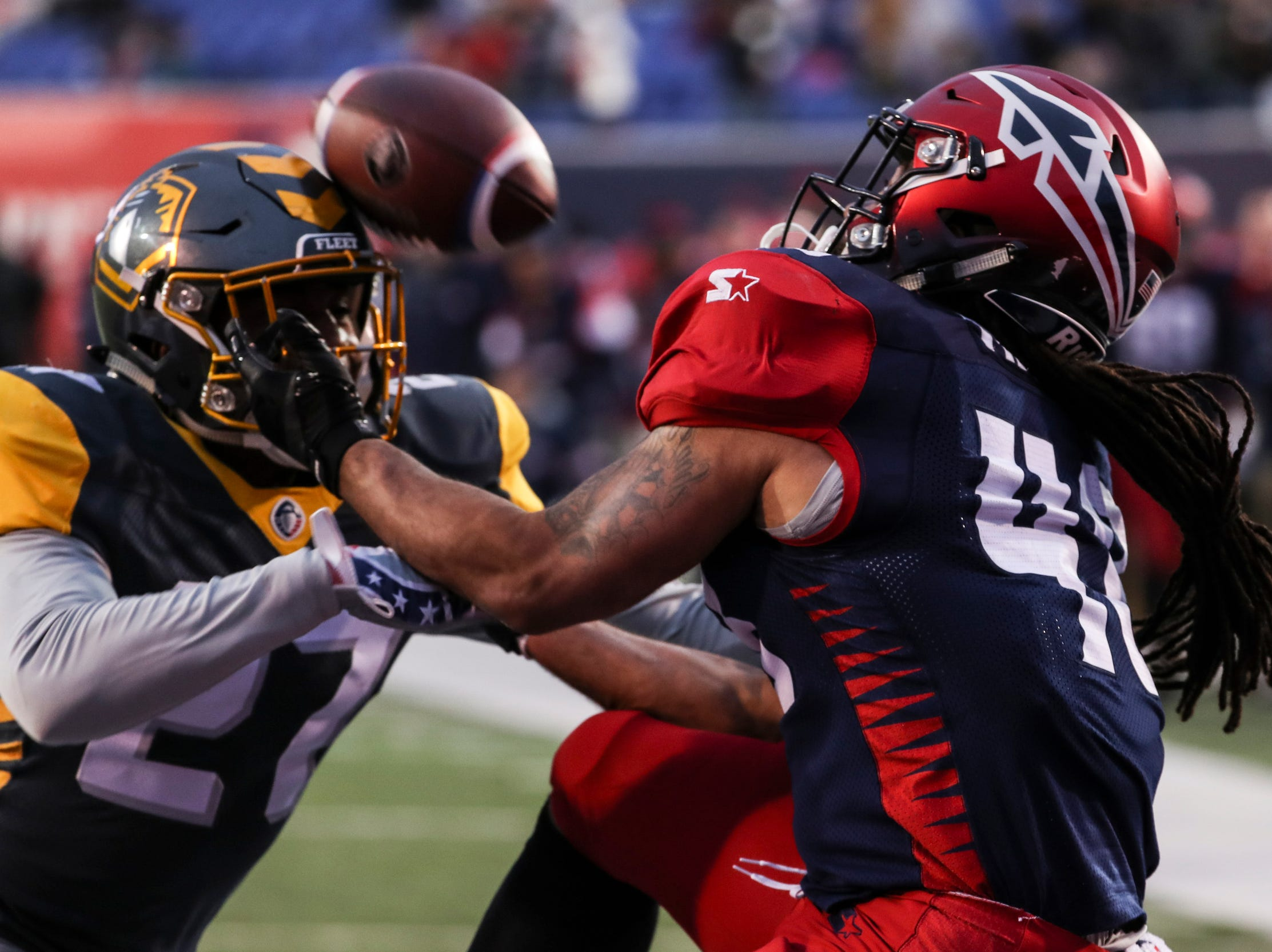 March 02, 2019 - Terrence Magee catches a touchdown pass during Saturday's game against the San Diego Fleet.